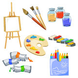 Set of subjects for the artist Stock Photos