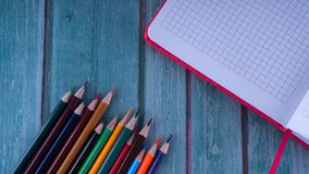 Set of subjects for school. School supplies stock photo