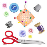 Set of subjects for sewing on white background royalty free stock photo