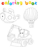 Set of submarine, balloon and excavator. Coloring book for child. Ren about transport. Vector illustration Royalty Free Stock Images