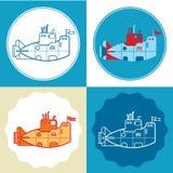 Set of submarines. Set of four decorative cruise ship silhouettes on colorful background stock illustration