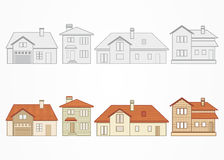 Set of suburban homes. Vector illustration Stock Photography
