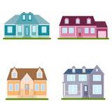 Set of suburban houses, vector illustration Royalty Free Stock Photos