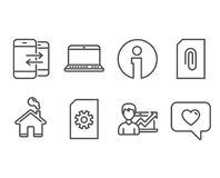 Success business, Attachment and Notebook icons. Phone communication, File management and Love message signs. Set of Success business, Attachment and Notebook Stock Photography