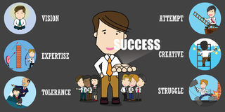 Set of success businessman. And many gestures. Funny vector concept Royalty Free Stock Images