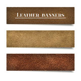 Set of suede and leather banners Royalty Free Stock Image