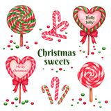 Set of sugar candies for holiday. Vector ilustration Royalty Free Stock Photos