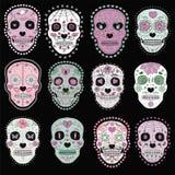 Set of sugar skulls illustrations. Design elements for poster, postcard, flyer, banner. Vector illustration royalty free illustration