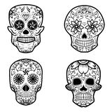 Set of sugar skulls isolated on white background. Day Of The Dea. D. Dia De Los Muertos. Vector illustration Stock Photo