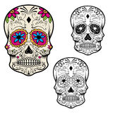 Set of sugar skulls isolated on white background. Day Of The Dea. D. Dia De Los Muertos. Vector illustration Stock Image