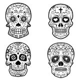 Set of sugar skulls isolated on white background. Day Of The Dea. D. Dia De Los Muertos. Vector illustration Royalty Free Stock Photos