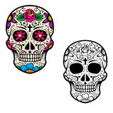 Set of sugar skulls isolated on white background. Day Of The Dea Stock Image
