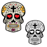 Set of sugar skulls isolated on white background. Day Of The Dea Royalty Free Stock Images