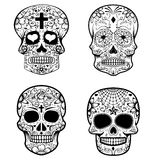 Set of sugar skulls isolated on white background. Day Of The Dea. D. Dia De Los Muertos. Vector illustration Royalty Free Stock Photography