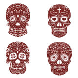 Set of sugar skulls isolated on white background. Day of the dea. D.  Vector illustration Royalty Free Stock Photography