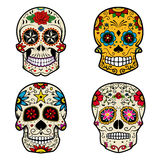 Set of Sugar skulls isolated on white background. Day of the dea. D.  Vector illustration Royalty Free Stock Images