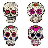 Set of Sugar skulls isolated on white background. Day of the dea Stock Photo