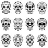 Set of Sugar skulls isolated on white background. Day of the dead Stock Photos