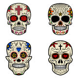 Set of Sugar skulls isolated on white background. Day of the dead. Vector illustration Royalty Free Stock Photos