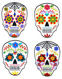 Set of sugar skulls. For mexican holiday the Day of the Dead Dia de los Muertos Stock Photos