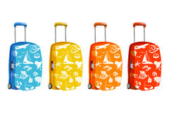 Set of suitcase with elements of travel Stock Photo