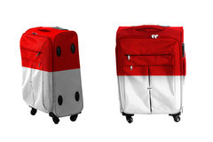 Set of suitcase with indonesian flag texture Stock Images