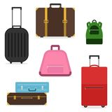 A set of suitcases and bags for travel. A suitcase of a tourist. Royalty Free Stock Photo