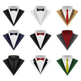 Set of suits. A set of colorful icons of suit and tuxedo, flat style isolated on white background. Vector illustration of holiday and classic suits. Clothes with Vector Illustration