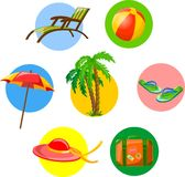 Set of summer activity stickers vector Royalty Free Stock Photo