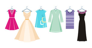 Set of summer and autumn dresses for office Royalty Free Stock Photography