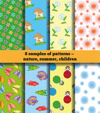 Set Of Summer Baby Fabric. Set of eight tissue samples. Bright summer patterns for children's clothing. Seamless texture. In the illustration used free font Stock Images