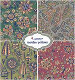Set of summer backgrounds - Floral Seamless Patterns with flower Stock Photo