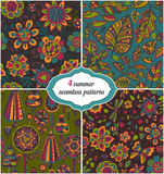 Set of summer backgrounds - Floral Seamless Patterns with flower Royalty Free Stock Photo