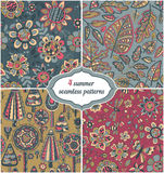 Set of summer backgrounds - Floral Seamless Patterns with flower Royalty Free Stock Image