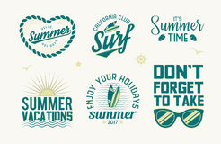 Set of summer badges. Set of summer logos, labels, emblems and design elements. Summer holidays, vacations and surf vintage templates. Vector illustration Royalty Free Stock Photography