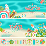 Set of summer beach banners and icons Royalty Free Stock Photos