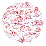 Set with summer beach girls. Doodle cute woman character sunba. Thing in different poses. Isolated female figures. Vector illustration in sketchy style royalty free illustration