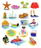 Set of summer beach and holiday icons. Like jet ski, surfboard, starfish, island, rubber ring, cool box, flip flops Royalty Free Stock Image