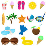 Set of summer beach items. Diving, surfing and vacation items located on a white background. Stock Photography