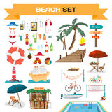 Set of summer beach objects Stock Photos