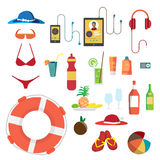 Set of summer beach objects. Summer Holidays. Hat, swimsuit Stock Images