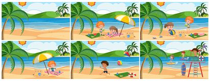 Set of summer beach scene. Illustration vector illustration