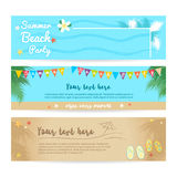 Set of summer beach and sea banner background royalty free illustration