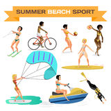 Set of summer beach sports. Women are engaged in volleyball, div. Ing, cycling, surfing, kite, water skiing, scooter. Flat cartoon isolated vector illustration Royalty Free Stock Image
