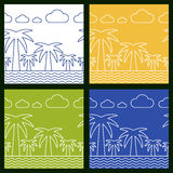 Set of summer beach vector seamless background. Palm tree, sea a Royalty Free Stock Photos