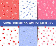 Set of summer berries seamless patterns Stock Photography