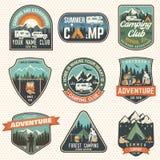 Set of Summer camp badges. Vector. Concept for shirt or logo, print, stamp, patch or tee. Set of Camping and caravanning club badges. Vector. Concept for shirt royalty free illustration
