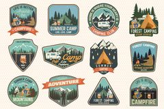 Set of Summer camp badges. Vector. Concept for shirt or logo, print, stamp, patch or tee. royalty free illustration