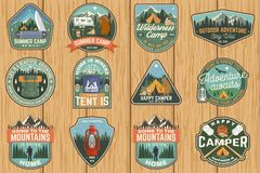 Set of Summer camp badges. Vector. Concept for shirt or logo, print, stamp, patch. Vintage typography design with rv royalty free illustration