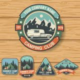 Set of Summer camp badges on the wood board. Vector. Concept for shirt , print, stamp, travel badges or tee. Design with rv trailer, camping tent, campfire vector illustration